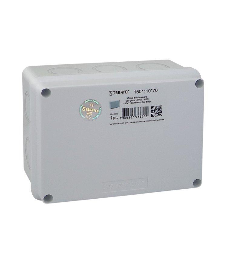 Caixa Plástica Multiuso 150x110x70mm IP65 - 10 Furos Laterais Destacáveis Ø32mm