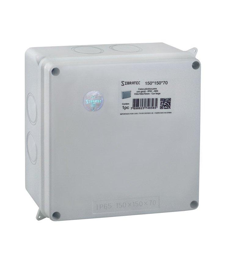 Caixa Plástica Multiuso 150x150x70mm IP65 - 7 Furos Laterais Destacáveis Ø32mm