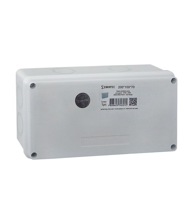 Caixa Plástica Multiuso 200x100x70mm IP65 - 8 Furos Laterais Destacáveis Ø32mm