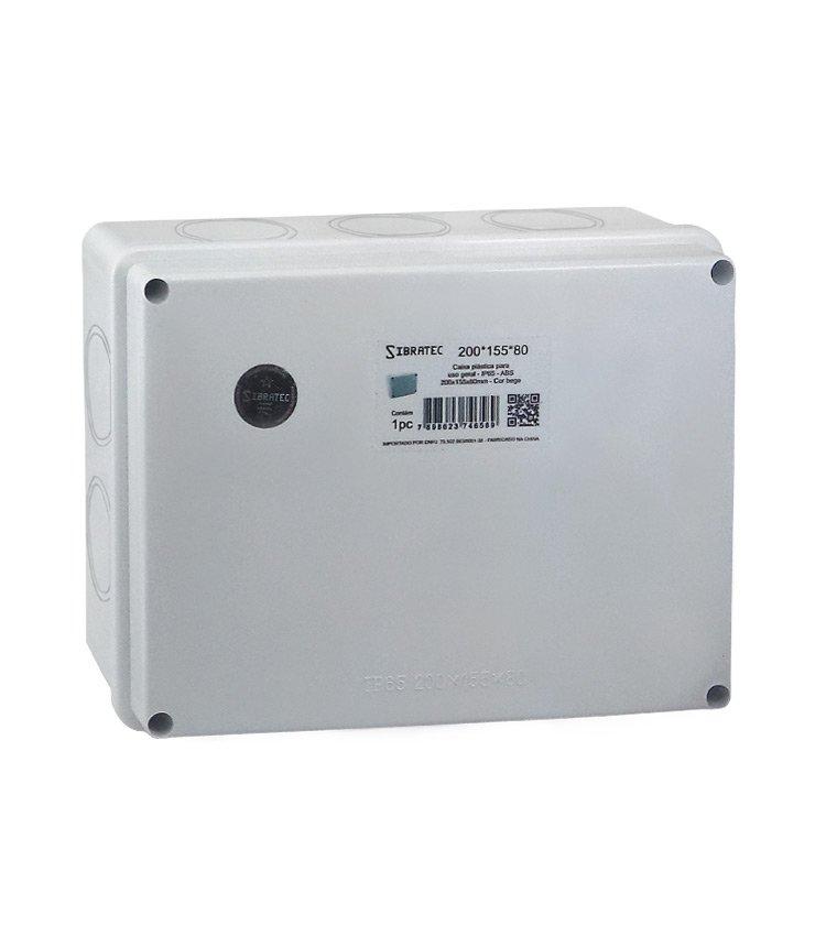 Caixa Plástica Multiuso 200x155x80mm IP65 - 10 Furos Laterais Destacáveis Ø41mm