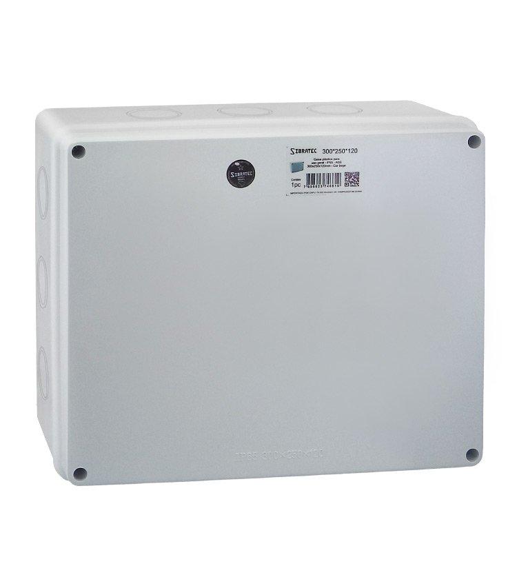 Caixa Plástica Multiuso 300x250x120mm IP65 - 12 Furos Laterais Destacáveis Ø41mm