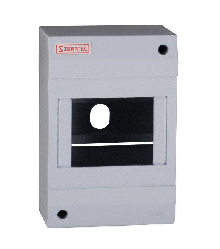 Caixa Plástica de Sobrepor Para Disjuntor DIN 3 ou 4 Polos (destacável) - Dimensões: 130x85x62mm (HxLxP)