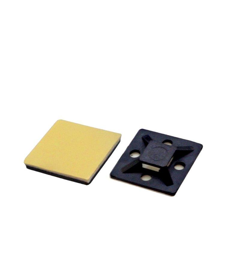 Suporte Auto Adesivo Preto para Abraçadeira TM20-P. Dimensão: 20x20mm (Quantidade mínima múltiplos de 100 unidades)