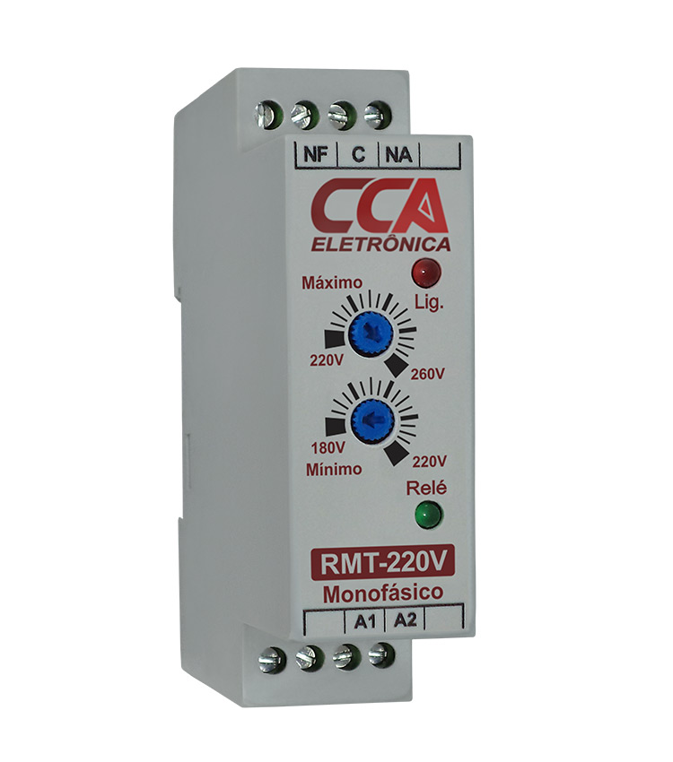 Relé Monitor de Tensão 220Vca - Ajuste Mínimo (180V~220V) - Máximo (220V~260V)