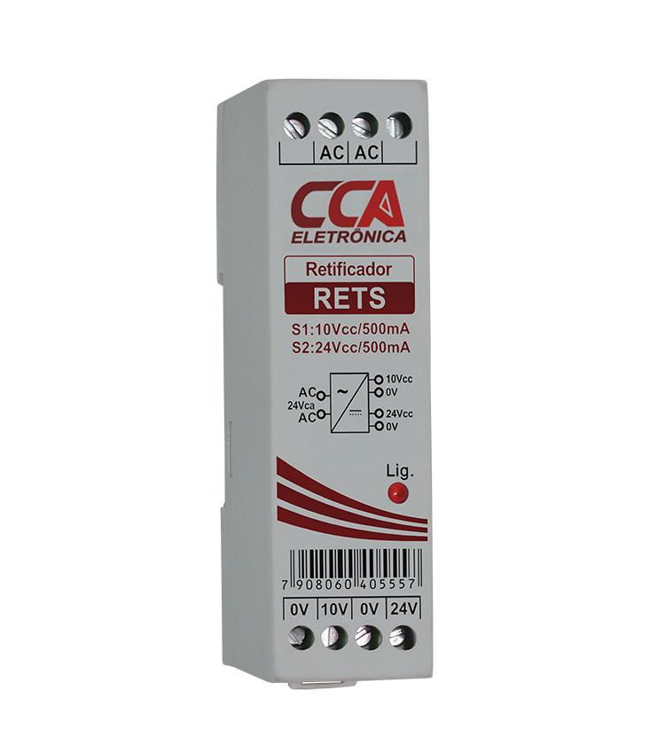 Retificador Vca / Vcc - Entrada 24Vca e Saídas 24Vcc 500mA e 10Vcc 500mA