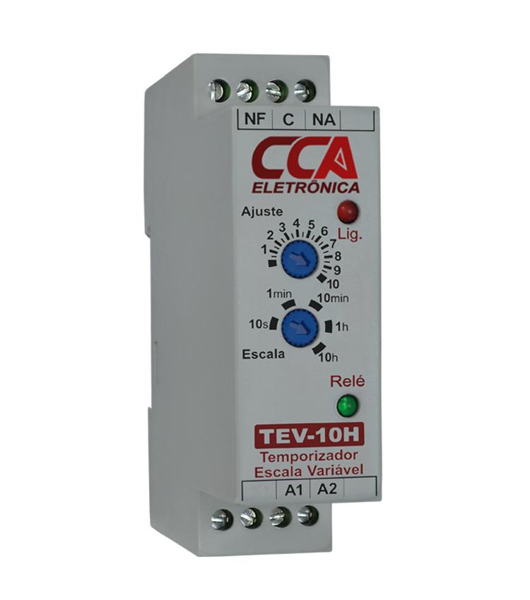 Temporizador Analógico Variável com Ajuste de 0,3s até 10h. Alimentação 220Vca e 1 contato reversível