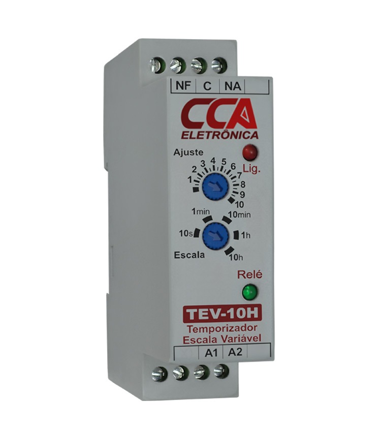 Temporizador Analógico Variável com Ajuste de 0,3s até 10h. Alimentação 24Vca/Vcc e 1 contato reversível
