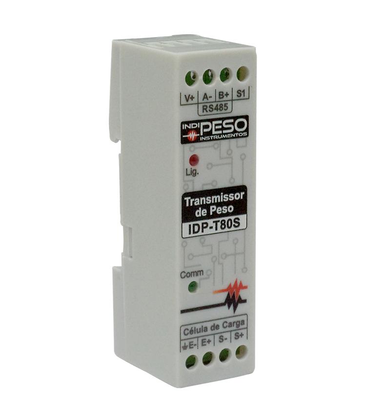 Transmissor de Peso IDP-T80S STANDARD. Entrada até 8 Células de Carga com 1 Saída Analógica 4~20mA ou 0~20mA, 1 Saída digital e Alimentação 8~16Vcc