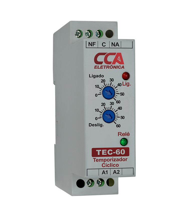 Temporizador Analógico Cíclico TEC-60SM-24V - Ajuste ON 0~60Seg - Ajuste OFF 0~60Min - 24Vca/Vcc