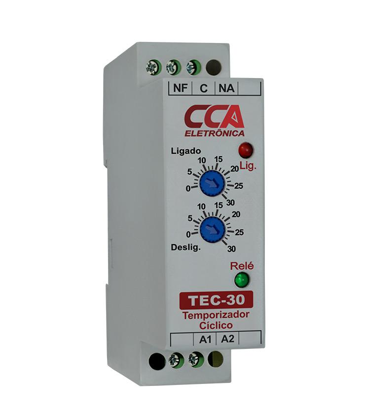 Temporizador Analógico Cíclico TEC-30MM-24V - Ajuste ON 0~30Min - Ajuste OFF 0~30Min - 24Vca/Vcc