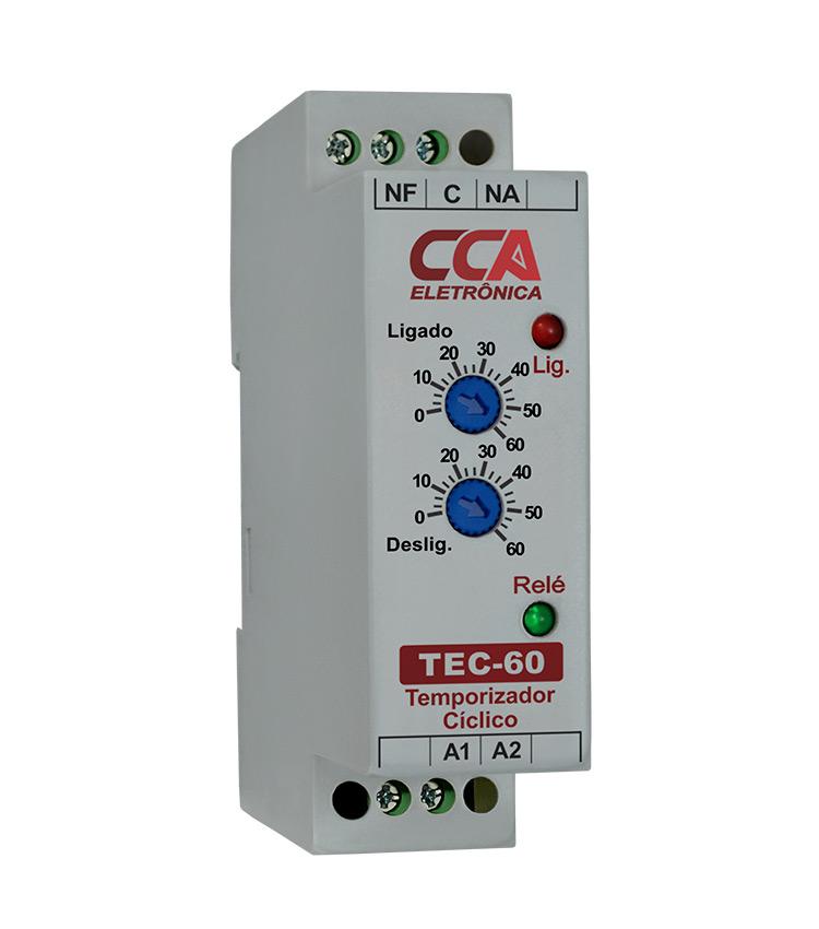 Temporizador Analógico Cíclico TEC-60MM-24V - Ajuste ON 0~60Min - Ajuste OFF 0~60Min - 24Vca/Vcc