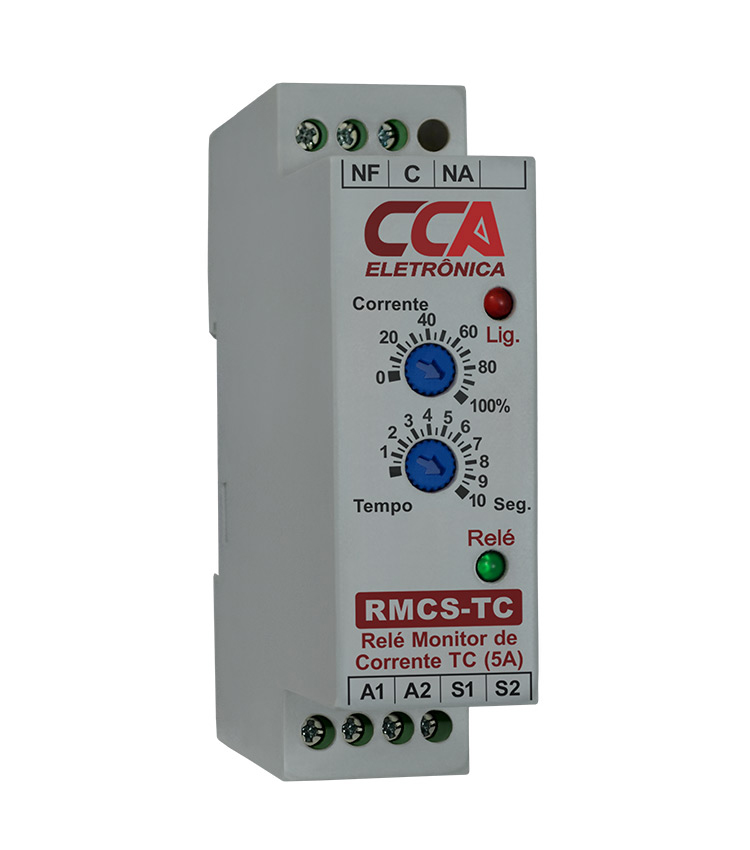 Relé Monitor de Corrente RMCS 220V com Entrada para TC 0~5A. Ajustável de 0~100% da Corrente