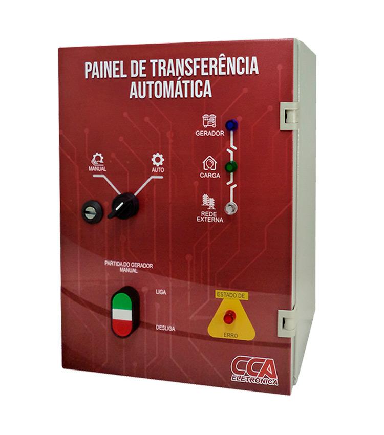 Painel Completo para Transferência Automática Rede/Gerador 63A Bipolar 220V com Controlador em Quadro Metálico CCA