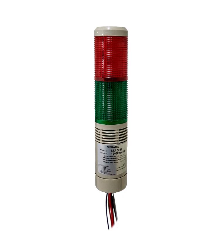 Torre Luminosa LTA5052 12~30Vca/Vcc - LED com 2 cores - Sinalização Contínua ou Intermitente + Alarme Sonoro