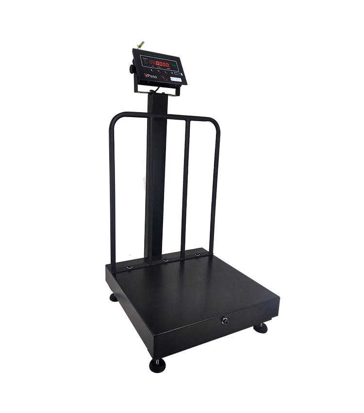 Balança de Piso UNO BPG-100PU.4040 Capacidade 100Kg (20g) - Plataforma 40x40cm - Com Coluna e Grade de Apoio - Material Aço