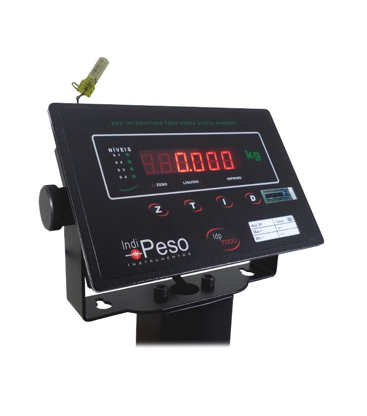 Balança de Piso Standard BP-200PS.4040.AIC - Capacidade 200Kg(50g) - Plataforma 40x40cm - Com Coluna - Material Aço - Bandeja Inox